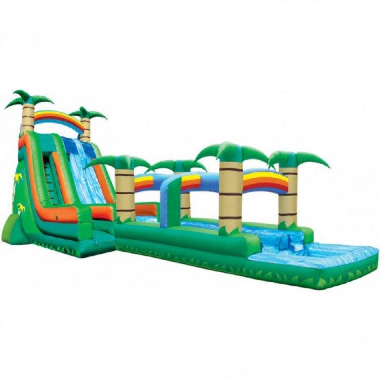 water20slide 27 tropical 2 lane run n splash combo 1611263542 big Tropical Water Slide 27 with Run and Splash